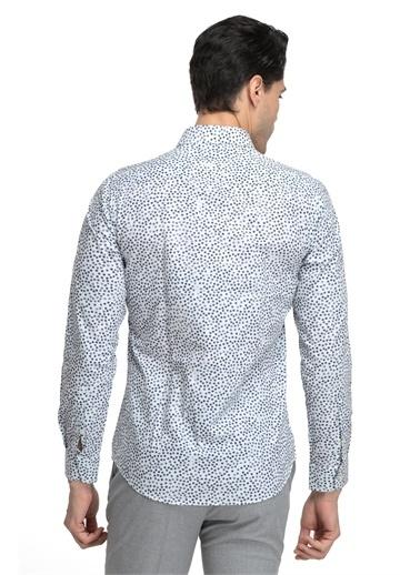 TWN Twn Slim Fit Beyaz Baskılı Gömlek Beyaz